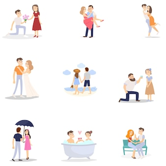 Conjunto de casal romântico moderno, mulher e homem em diferentes situações diárias