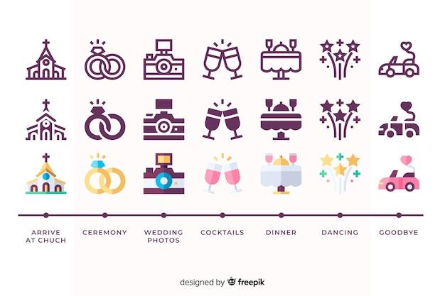 Conjunto de casamento com ilustrações bonitinha