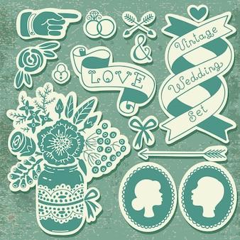 Conjunto de casamento de elementos de design vintage.