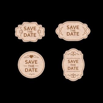 Conjunto de casamento de rótulo, emblemas, design.