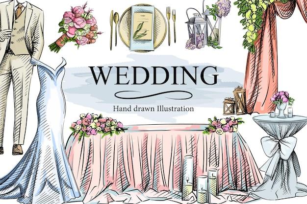 Conjunto de casamento desenhado à mão em aquarela colorida.