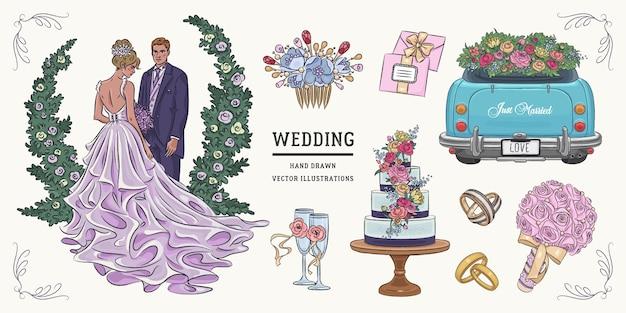 Conjunto de casamento esboço mão desenhada