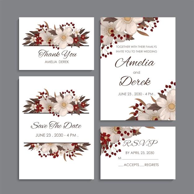 Conjunto de casamento floral fundo branco e vermelho