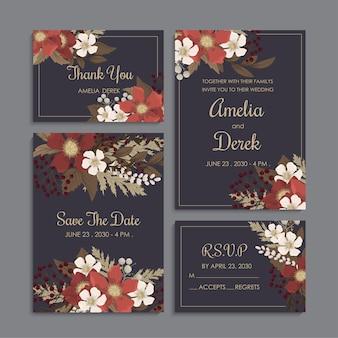 Conjunto de casamento floral fundo escuro