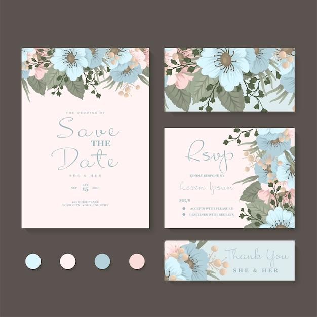 Conjunto de casamento floral Vetor grátis