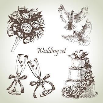 Conjunto de casamento. ilustração desenhada à mão