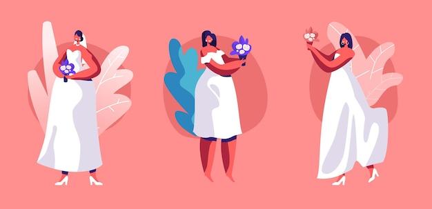 Conjunto de casamento. linda menina morena com vestido branco com laço, véu e buquê de flores nas mãos isoladas no fundo rosa.