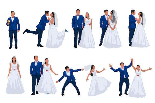 Conjunto de casamento noivo e noiva