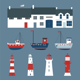 Conjunto de casas, barcos e faróis.