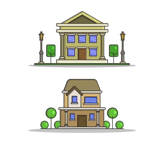 Conjunto de casas com árvores em estilo simples