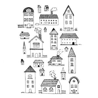 Conjunto de casas de desenho doodle