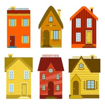 Conjunto de casas de design plano