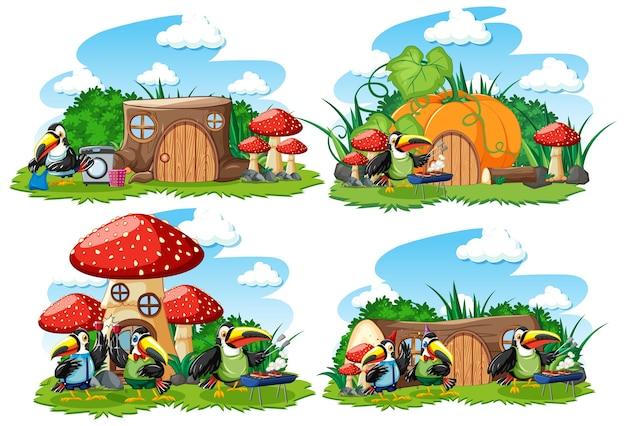 Conjunto de casas de fantasia no jardim com animais fofos isolados no fundo branco