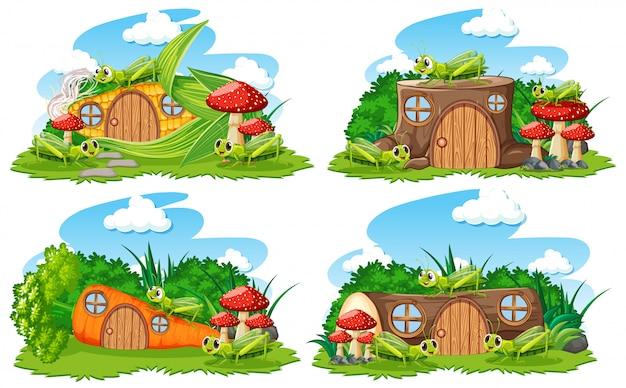 Conjunto de casas de fantasia no jardim com animais fofos no fundo branco