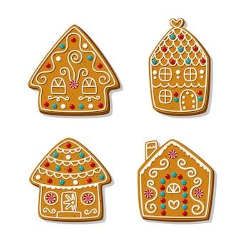 Conjunto de casas de gengibre festivas dos desenhos animados. biscoitos de natal caseiros festivos.