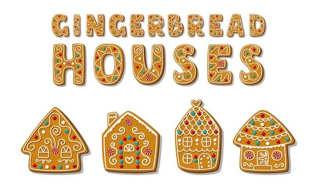 Conjunto de casas de gengibre festivas dos desenhos animados com uma frase curta. doces caseiros festivos. biscoitos natalinos.