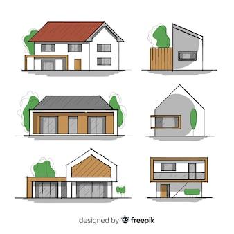 Conjunto de casas de mão desenhada