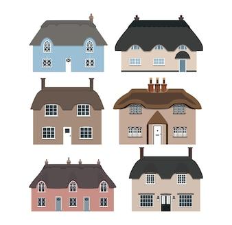 Conjunto de casas de palha inglesas tradicionais.