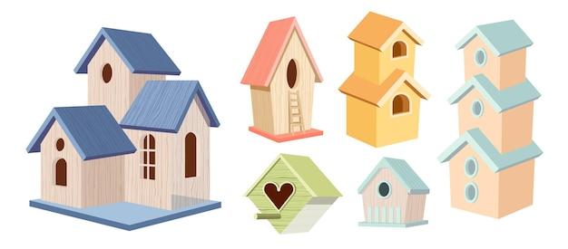Conjunto de casas de pássaros de madeira, casas de pássaros coloridas de madeira de dois e três andares, casa ou ninho com telhado inclinado e cerca