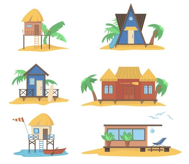 Conjunto de casas de verão no mar