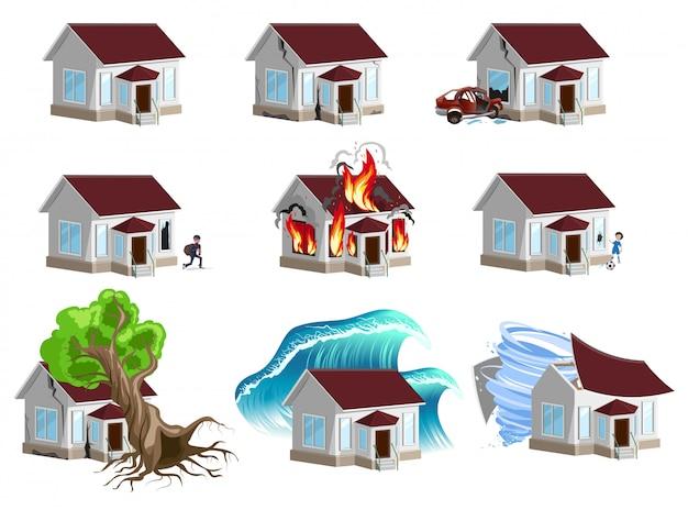 Conjunto de casas desastre, seguro residencial, seguro patrimonial