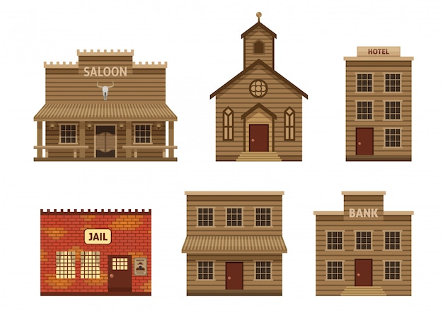 Conjunto de casas do oeste selvagem