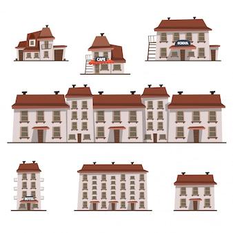 Conjunto de casas dos desenhos animados