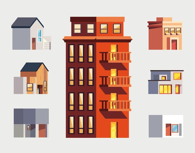 Conjunto de casas e prédios isolados