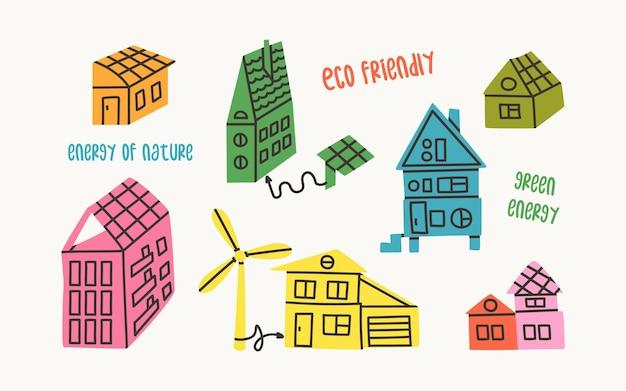 Conjunto de casas ecológicas energia que é gerada por painéis solares e turbinas eólicas edifícios ecológicos