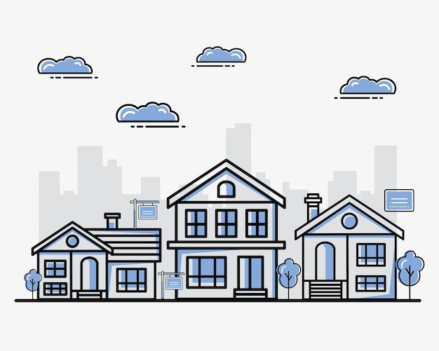 Conjunto de casas imobiliárias