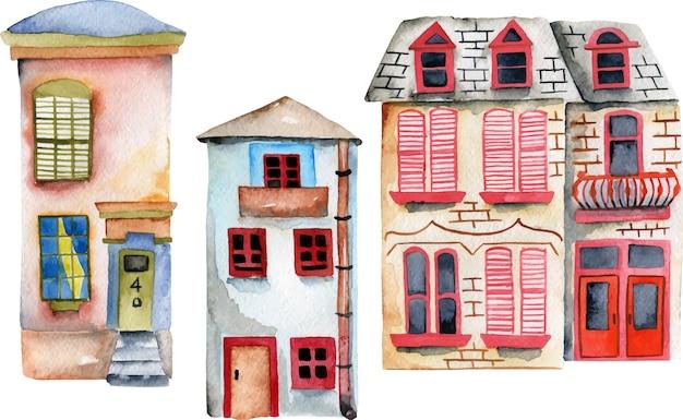 Conjunto de casas inglesas em aquarela