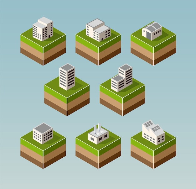 Conjunto de casas isométricas com elementos da paisagem