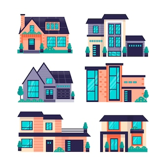 Conjunto de casas modernas ilustradas