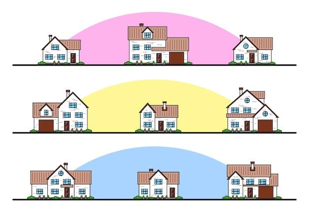 Conjunto de casas residenciais de estilo chalé urbano e suburbano, ícones de linha fina.