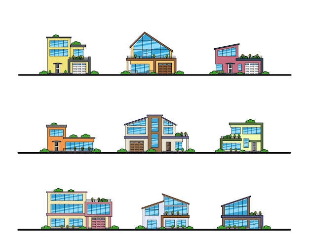 Conjunto de casas residenciais de estilo moderno urbanas e suburbanas, ícones de linha fina.