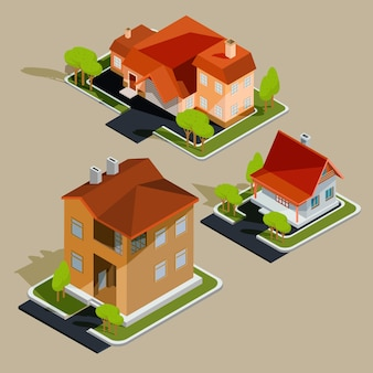 Conjunto de casas residenciais isométricas de vetores, casas de campo