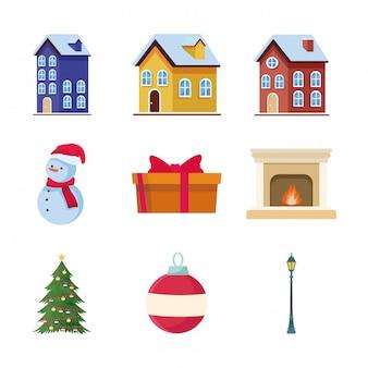 Conjunto de casas tradicionais e ícones relacionados ao natal