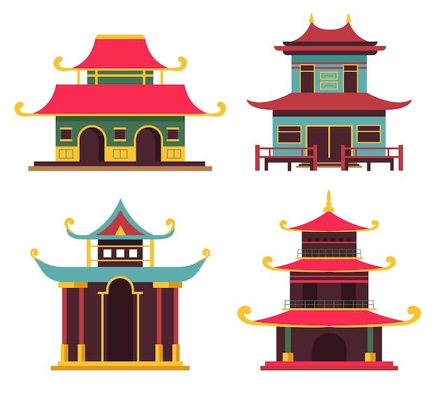 Conjunto de casas tradicionais japonesas