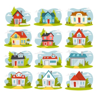 Conjunto de casas vermelhas. edifícios de casas de campo da cidade.