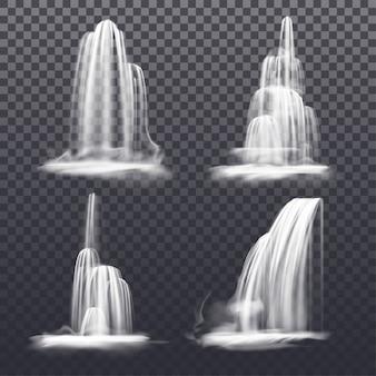 Conjunto de cascata realista ou fonte de água. córregos da montanha ou rio caindo, victoria caem sobre fundo transparente. paisagem de decoração de natureza isolada. fluxo de líquido. cenário