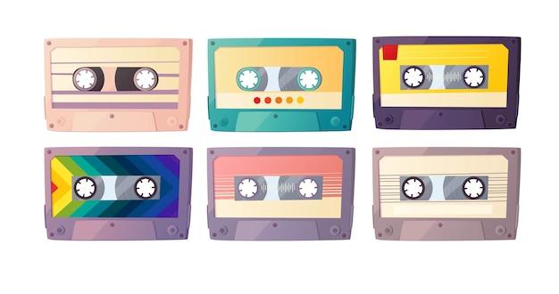 Conjunto de cassetes de áudio retrô