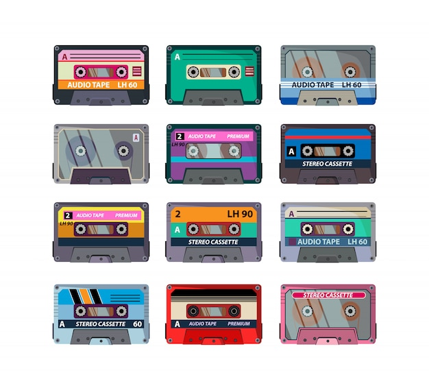 Conjunto de cassetes estéreo diferentes