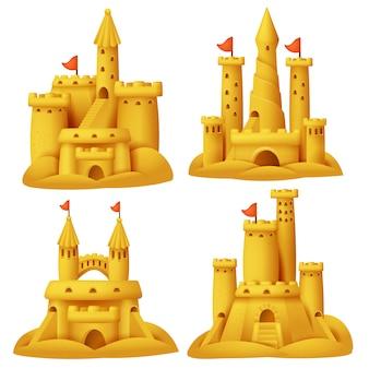 Conjunto de castelo de areia. edifícios de escultura de praia.