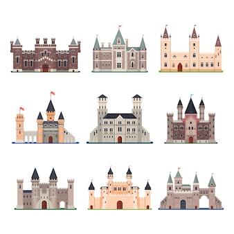 Conjunto de castelo medieval isolado com torre, portão e fosso e bandeiras