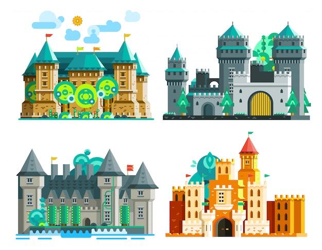 Conjunto de castelos coloridos
