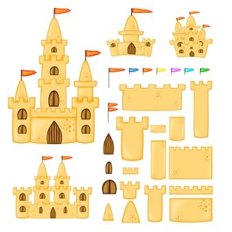 Conjunto de castelos de areia de diferentes formas. coleção de desenhos animados de verão em vetor.