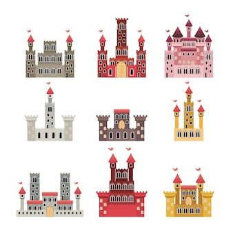 Conjunto de castelos de contos de fadas em fundo branco
