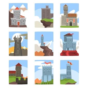 Conjunto de castelos e fortalezas antigos, paisagem de arquitetura medieval com árvores verdes, grama, colinas, pedras e nuvens ilustrações