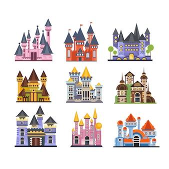 Conjunto de castelos e fortalezas, edifícios medievais de fadas ilustrações