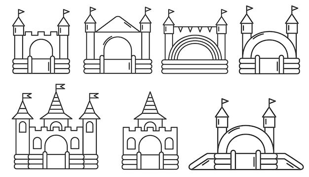 Conjunto de castelos infláveis infláveis. torre e equipamento para parque infantil.